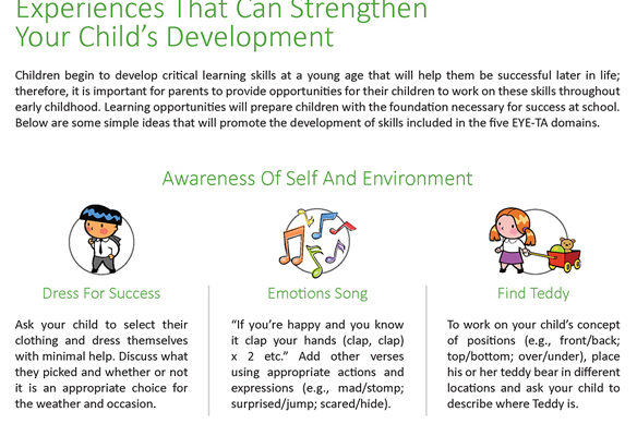 Educational Resources for caregivers and parents - Experiences that strengthen child development