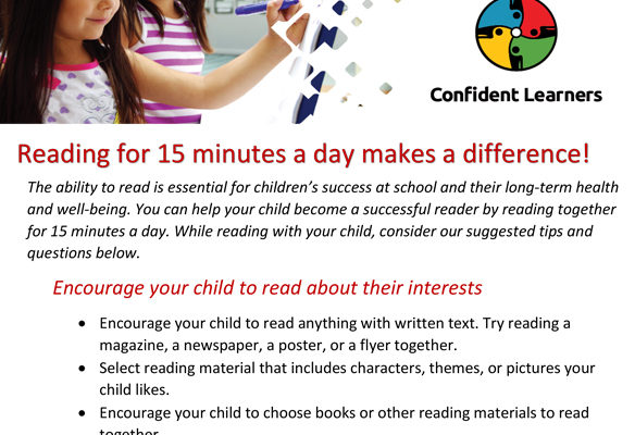 Educational Resources for caregivers and parents - 15 mins reading a day