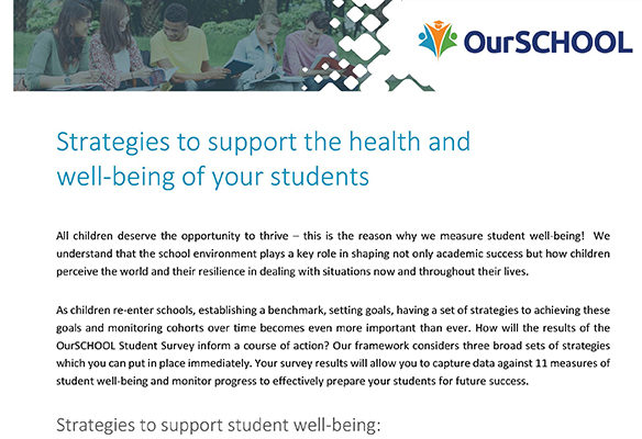Well-being Resources - OurSCHOOL Survey - Strategies to support well-being Thumbnail